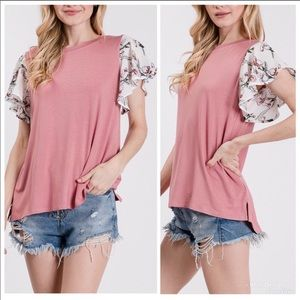 PINK FLORAL RUFFLE SLEEVE JERSEY KNIT SOFT TOP